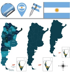 Argentina map with named divisions vector
