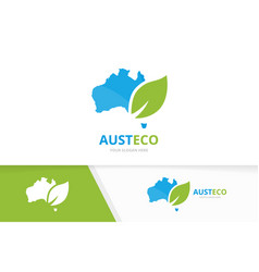 Australia and leaf logo combination vector