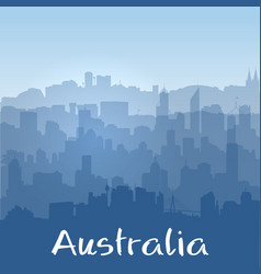 Background with australian cities silhouettes vector