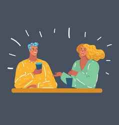 beautiful young couple drink together vector image