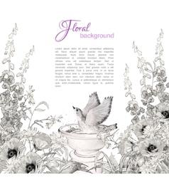 Bird Bath Sketch Flowers vector image