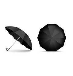 black blank umbrella icon set isolated on white vector image