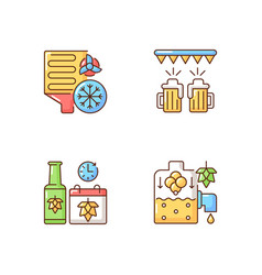 Brewery production rgb color icons set vector
