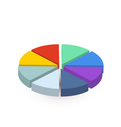 bright colourful pie diagram divided in eight vector image