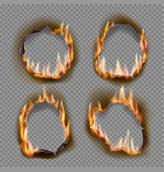 Burning holes burn paper with charred edges vector