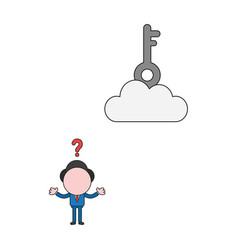 Businessman character with key on cloud color and vector