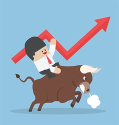 Businessman riding on bull vector image