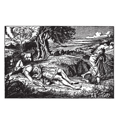 Cain and abel- runs away as abel lies dead vector