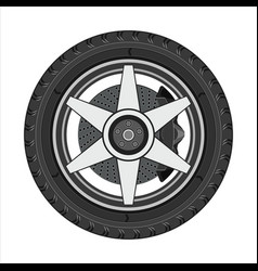 Car wheel with disc brake vector
