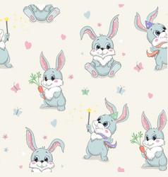 cartoon cute rabbit seamless pattern vector image