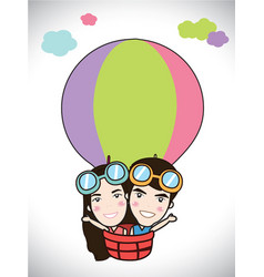cartoon kids riding a hot air balloon clip art vector image
