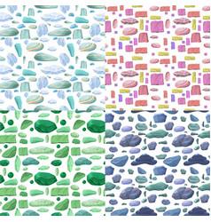 Cartoon natural stones seamless patterns set vector