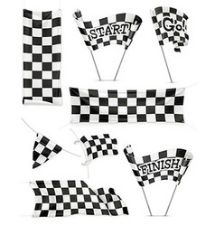 Checkered banners and flags icon set vector