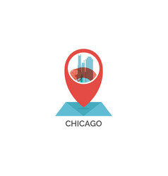 Chicago map pin icon vector
