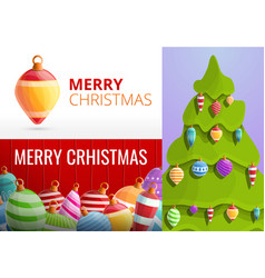 christmas fir tree toys banner set cartoon style vector image