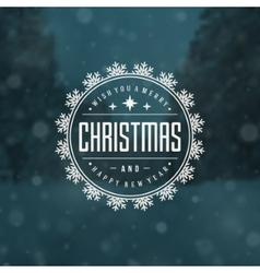 Christmas greeting card lights and snowflakes vector image
