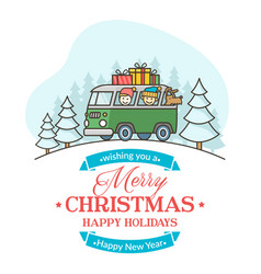 Christmas greeting card with editable text vector