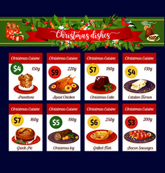 Christmas menu card of winter holiday dinner vector