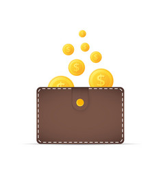 coins in the wallet golden coins with dollar vector image