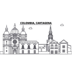 Colombia cartagena line skyline vector