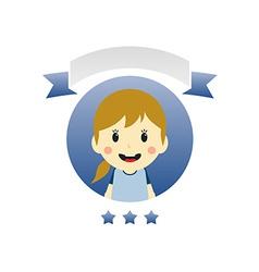 cute girl cartoon character label vector image