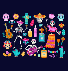 day dead mexican decorations cute skull vector image