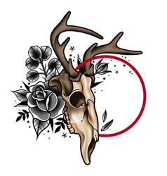 decorative tattoo deer skull and roses vector image