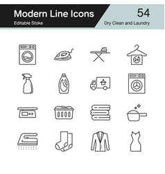 Dry clean and laundry icons modern line design vector