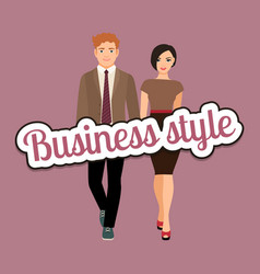elegant couple in business style clothing vector image