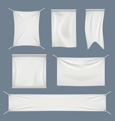 fabric banners white textile flag clothes cotton vector image