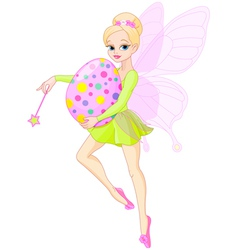 Fairy flying with Easter egg vector