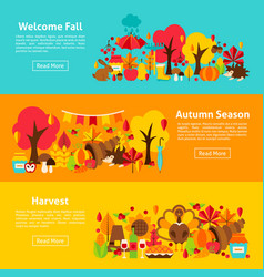 Fall web horizontal banners vector