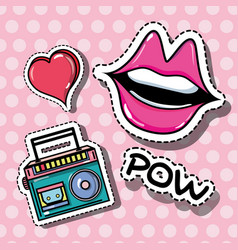 Fashion mouth and radio pop art patches vector