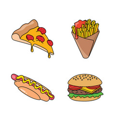 Fast food icons - pizza french fries hot dog and vector