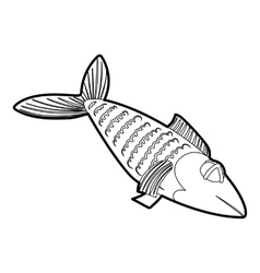 Fish icon outline style vector