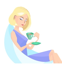 Girl with a cup of coffe vector