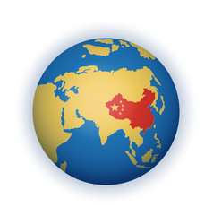 Globe with china territory highlighted in red vector
