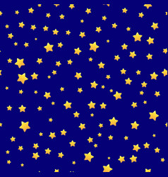 gold stars on blue background seamless pattern vector image