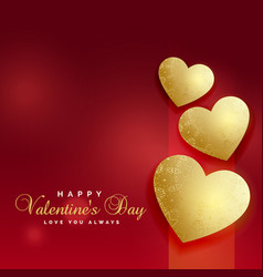 Golden love hearts red background for valentines vector
