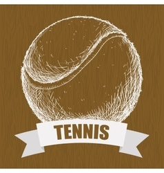 Hand draw tennis balle vector
