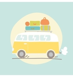 Hand drawn retro van with luggage vector