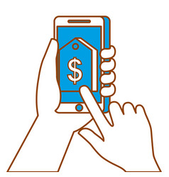 hand holding smartphone with price tag sale vector image