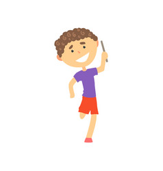 happy boy participating in a relay race kids vector image