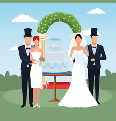 Happy couples with weeding cake and floral arch vector