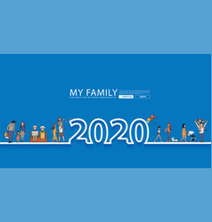 happy family fun 2020 new year life style idea vector image
