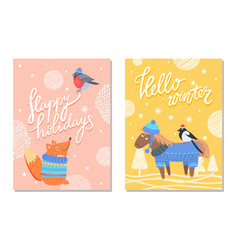 happy holidays greeting cards squirrel donkey bird vector image