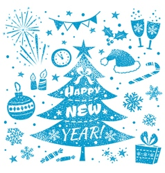 Happy New Year and Merry Christmas Design Set vector image