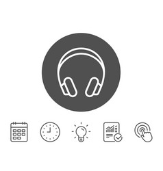 headphones line icon music listening sign vector image