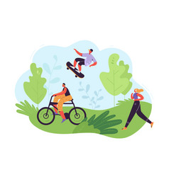 healthy lifestyle concept active people exercising vector image