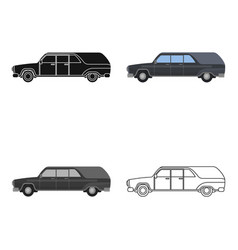 hearse icon in cartoon style isolated on white vector image